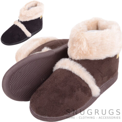 Booties with Faux Fur Trim Womens Ladies Slip On Slipper Bootee