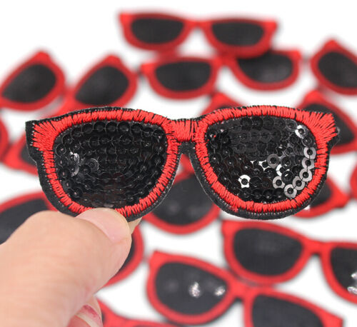 Fashion Applique Crafts Badge Patches HD137 Sequin Sunglasses Iron On Patch