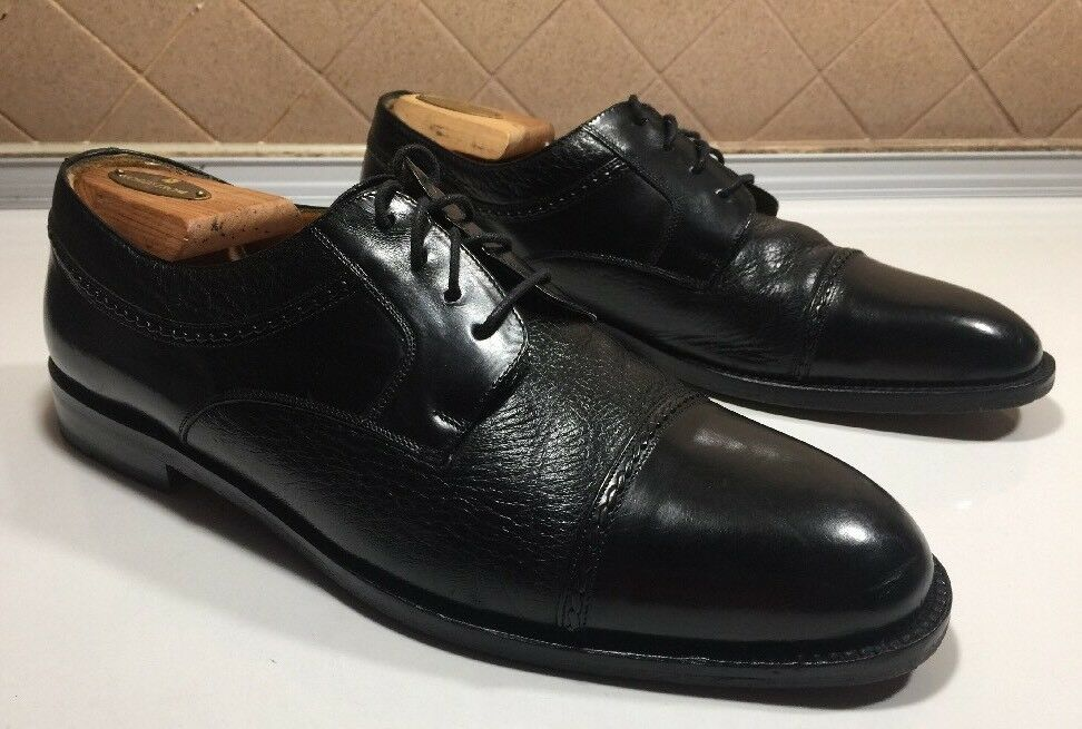 337))Mezlan-Napoli- Black Leather Dress Oxford/Shoe Cap Toe Men Sz 10.5