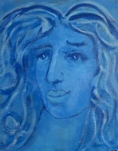 Original-Acrylic-Painting-Blue-Woman-Portrait-Venus-8x10-Signed-M-Mercogliano