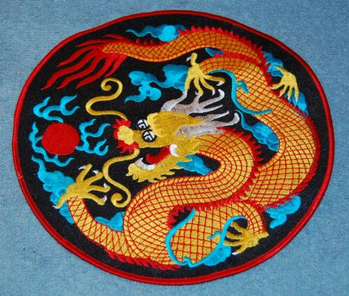 Orange Dragon On Black Background Round LARGE Embroidered Patch New