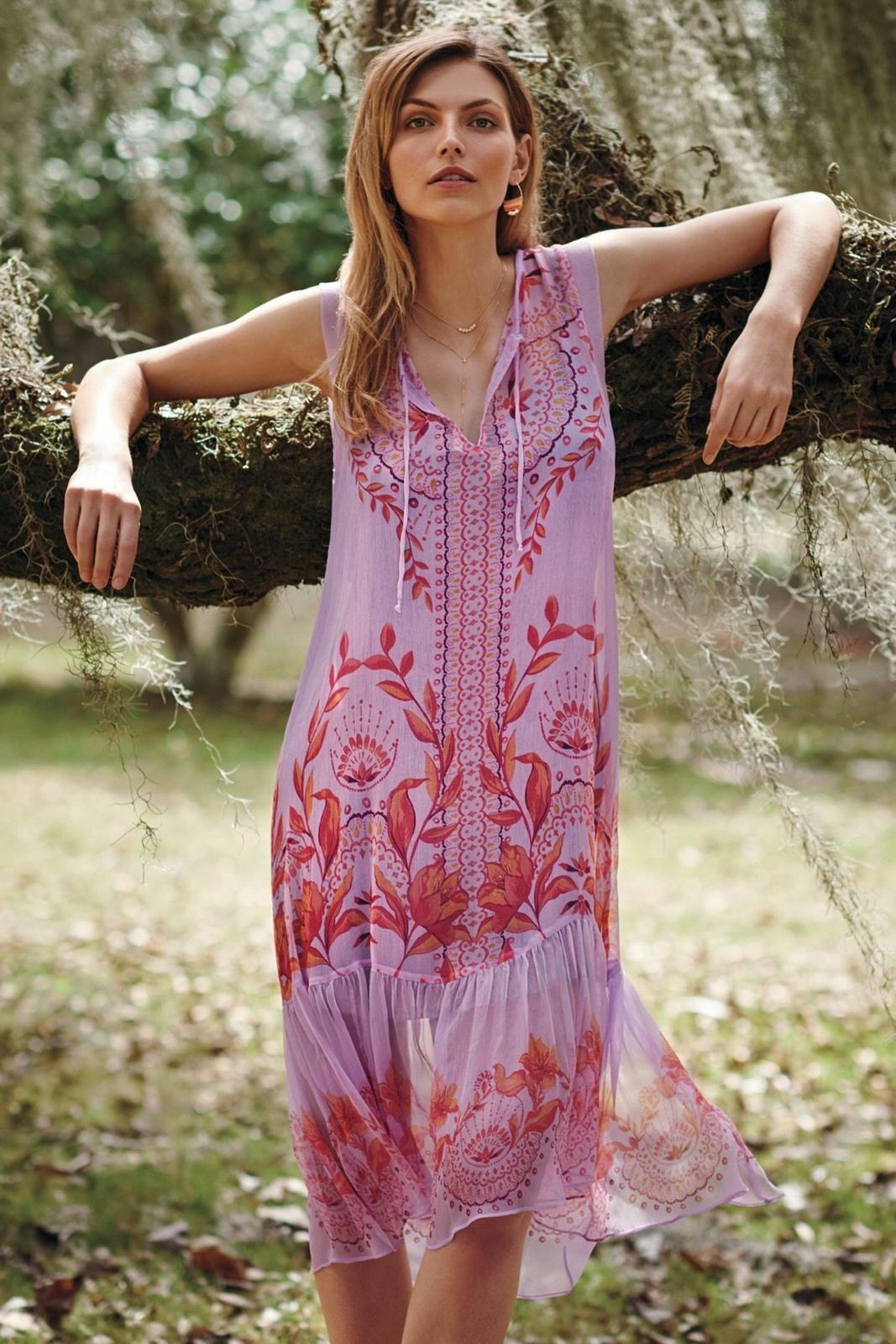 Anthropologie Floreat Wisteria Floral Print Lavender Silk Dress.size 2