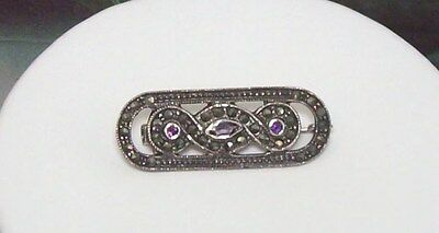 "Fine Marcasite Brooch Pin 1 1/2"" Long Wedding & Anniversary Bands Marc0026 2019 Latest Style Online Sale 50%"