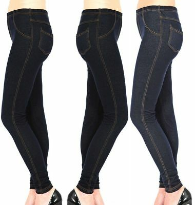 Besorgt New Ladies Womens Stretchy Denim Look Skinny Jeggings Leggings Plus Size 8-26 Uk Moderater Preis