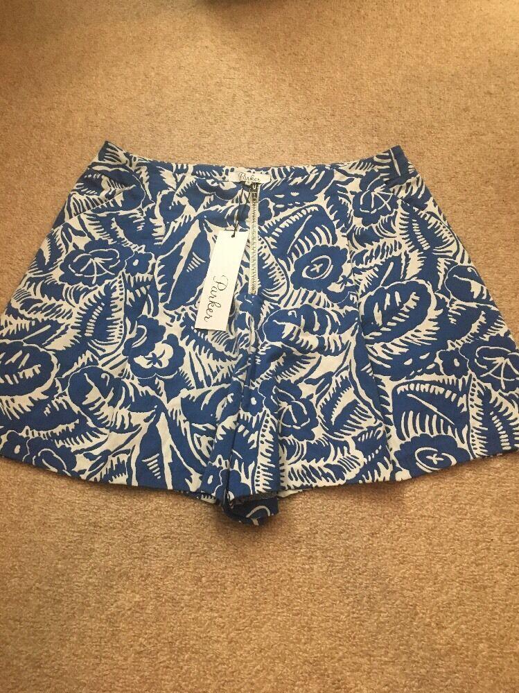 Parker NY bluee Ivory Floral Front Zip Pleat Shorts Sz 10 NWT (Waist Runs Small)