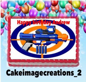 Admirable Nerf Birthday Gun Party Edible Decoration Cake Topper Image 1 4 Personalised Birthday Cards Veneteletsinfo