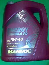 5 LITER MANNOL Formula PD 5W-40 MOTORÖL ACEA C3 API SN/SM/CF 5W40 MB VW BMW GM