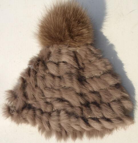 Mütze Pelz Strick m.Bommel Fuchs Blaufuchs Fox Hat Ski Winter Kanin Hasel Braun