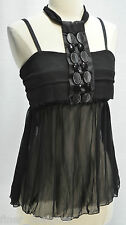 Kaelyn Max Blouse Top Summer Chiffon beaded Halter sleeveless shirt Black M NEW