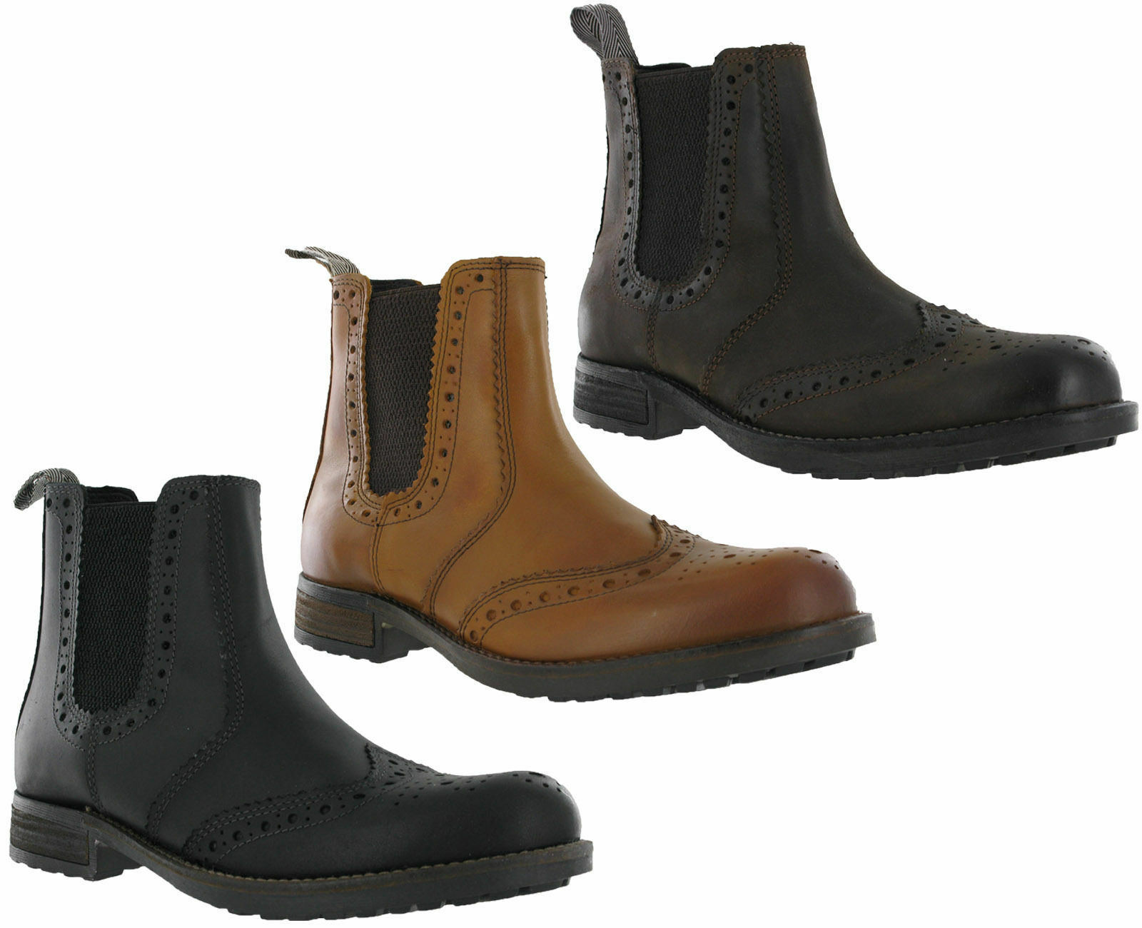 Roamers Dealer Brogues Gusset Caviglia in Pelle da Uomo Cuscino Pull On Stivali