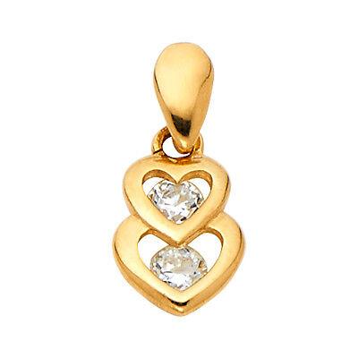 14K Real Yellow Gold  Interlocking Hearts CZ Pendant  For Girls Women