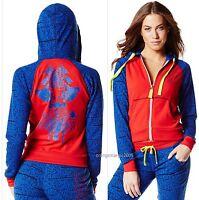 Zumba Fitness Samba Red -hip-hop Tri-me-zip-up Hoodie Jacket -lt. Sweats S M L