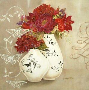 Kathryn Blanc Papillon Ornement Image Chassis 50x50 Toile Fleurs