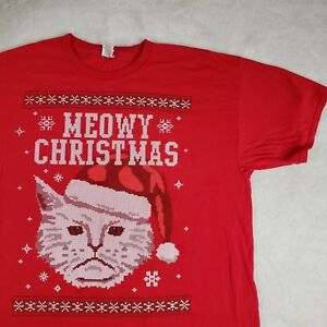 Christmas Cat Sweater.Details About Novelty Meowy Christmas Cat T Shirt Holiday Ugly Sweater Snowflake Red Sz Xl