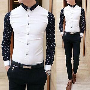 Men-s-Fashion-Casual-Slim-Fit-Smart-Long-Sleeve-Dress-Shirt-Tops-T-shirt-XS-L
