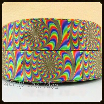 "Psychedelic RIBBON. 1"" Grosgrain.  OPTICAL ILLUSION.  Scrapbooking/Craft. SWIRLS"