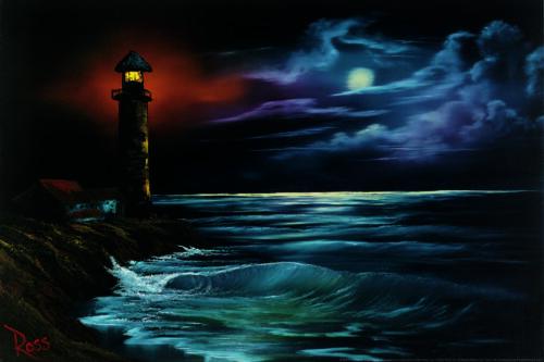Bob Ross Night Light Art Print Painting Mural Poster 36x54 inch
