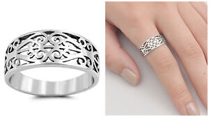 Sterling-Silver-925-PRETTY-SCROLL-WITH-HEART-DESIGN-SILVER-BAND-RING-SIZES-5-10