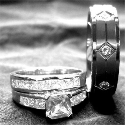 3PCS HIS HERS TITANIUM SILVER PRINCESS WEDDING RING SET