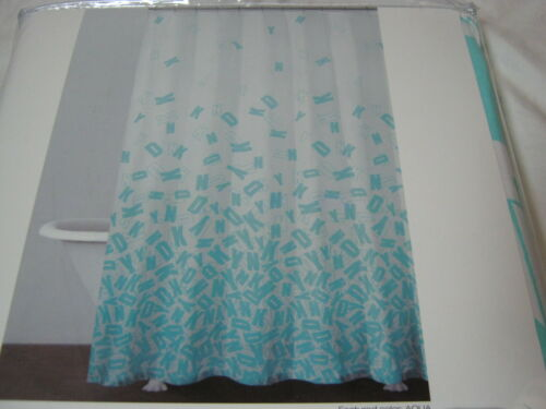"New DKNY  Cluster Fabric Shower Curtain 72/""x72/"" Aqua Blue and White NIP"