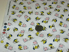 Quilting Treasures quilt fabric All Star Snoopy WOODSTOCK BASEBALL wht 2yds cute