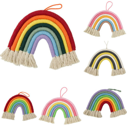 Hand Woven Rainbow Macrame Tapestry Wall Hanging Nursery Room Cloud Room DecorA8