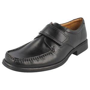 Mens formali Scarpe Roll Leather Strap Riptape Clarks Casual Huckley Smart Black wPRwpq4