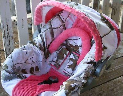 Infant Car Seat Cover And Hood Cover Snow Realtree And Baby Pink Minky