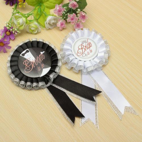 Groom/Bride To Be Badge Brooch Rosette Hen Night Party Bachelorette Fancy Dress