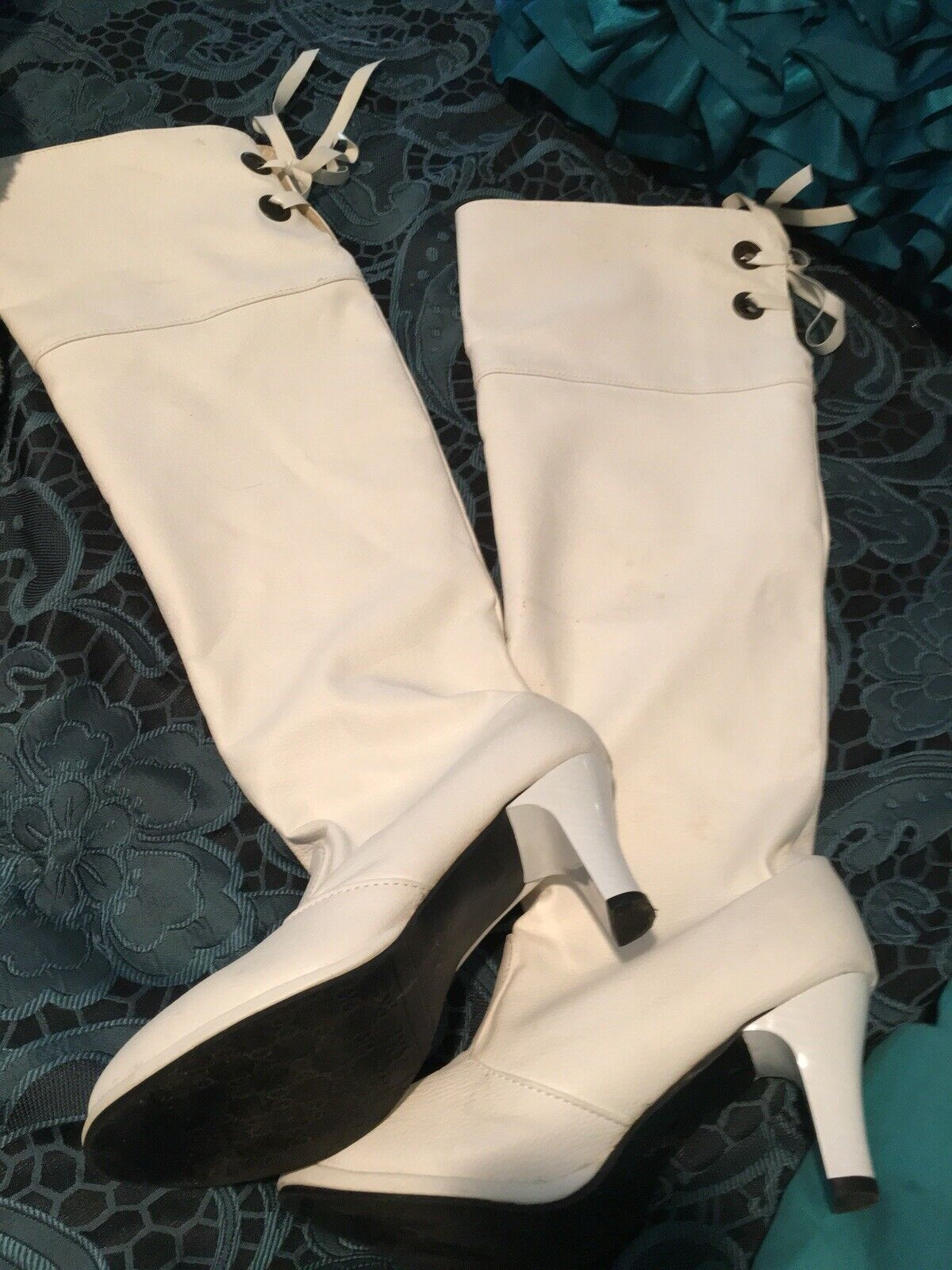 Ladie's White Knee High Boots