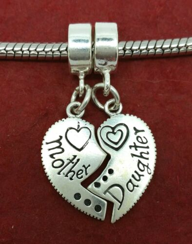 Sterling Silver Mother Daughter Charm Solid 925 Heart Mum Break apart European