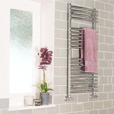 Quality Bathroom Curved Heated Towel Rail Radiator Rad 1000 x 500 mm - Chrome