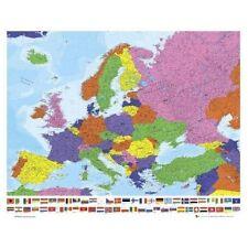 Mapa Poster Europea Mini Banderas impresión Arte Decoración De Pared Color (40 X 50 Cm) ex 0706