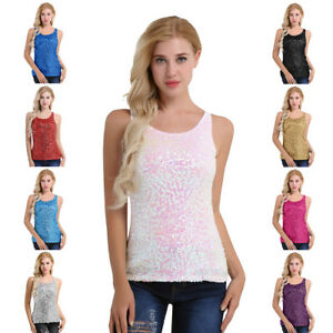 991f102e3b9 Sexy Women s Sparkly Sequin Front Tank Top Round Neck Vest ...