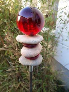 Gartenstecker Beetstecker Edelrost Glaskugel