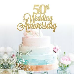 Image Is Loading Custom Cake Topper 50th Wedding Anniversary Glitter Personalised