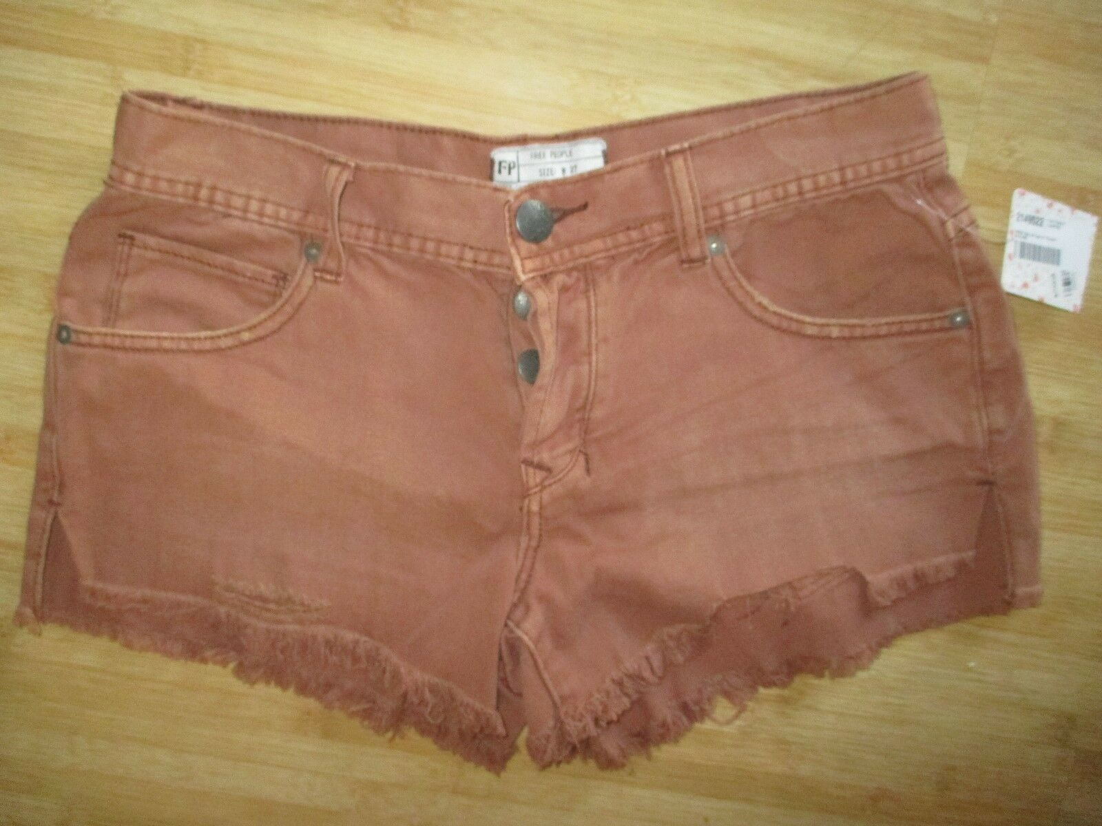 NWT Free People LADIES 27 JEAN DENIM Shorts PANTS Distressed Cut Offs bluesh