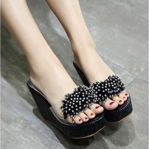Sandalias zapatillas mujer chanclas negro alto cuña 11 cm mar cómodo cw519
