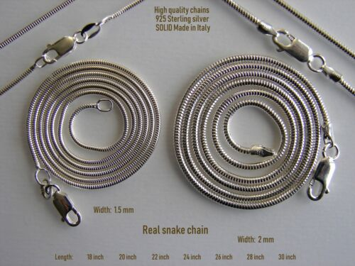 Necklace Snake Chains 925 Sterling  Silver Real Round Snake Chain. SOLID