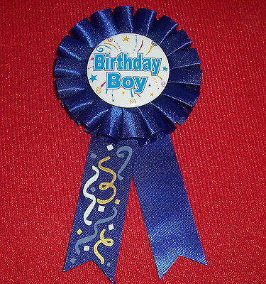 Birthday Boy Award Ribbon Blue Badge Party Favor Button
