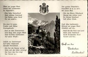 Vaduz-Fuerstentum-Liechtenstein-Grusskarte-1950-60-Schloss-Text-Liechtenstein-Lied