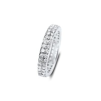Micro pave thin cz Womens Eternity Wedding Sterling silver Eternity band Round cut pave wedding band Eternity ring Stacking cz band