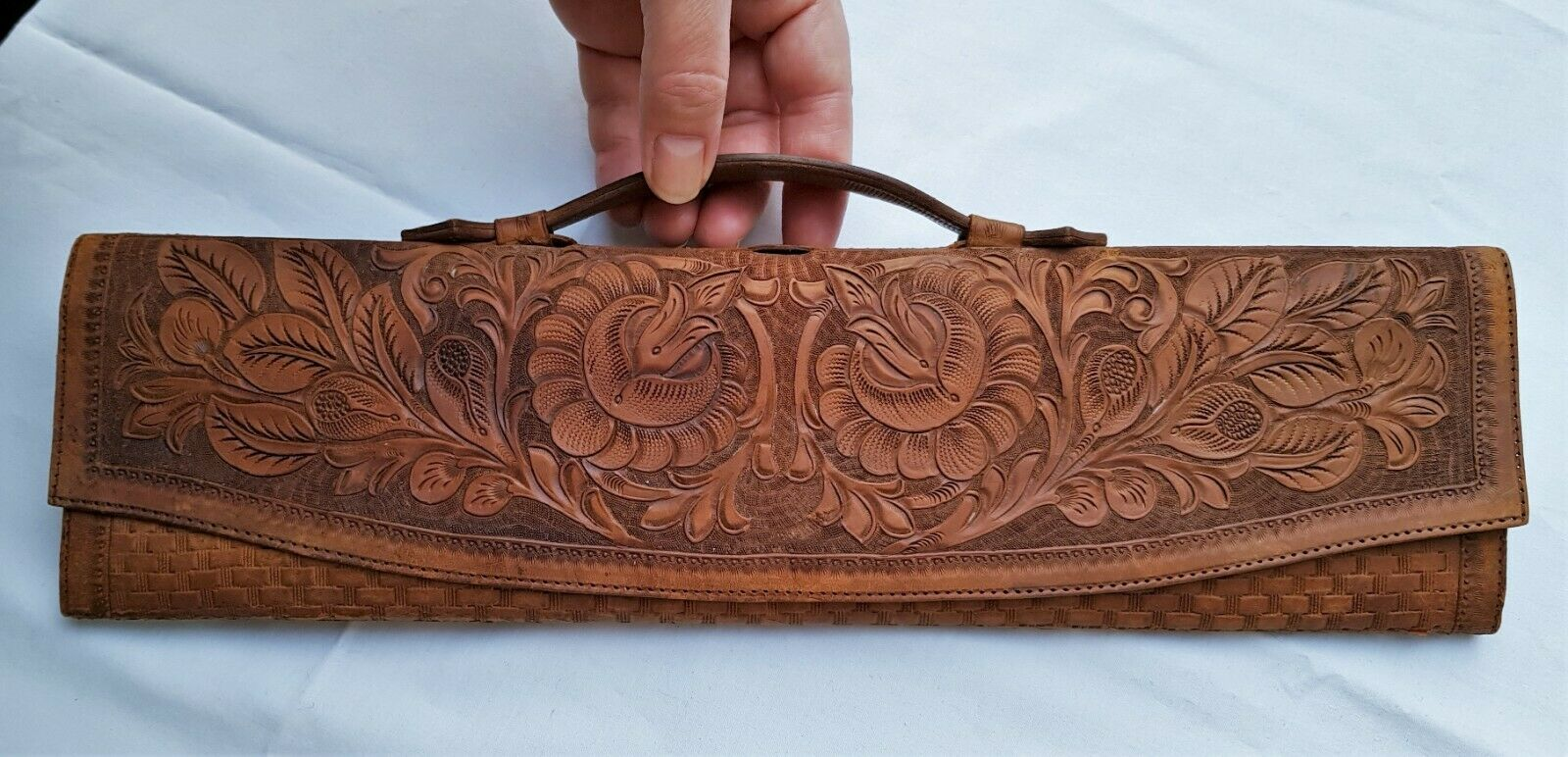 Antique tooled leather music sheet scroll foldable bag, case with notes