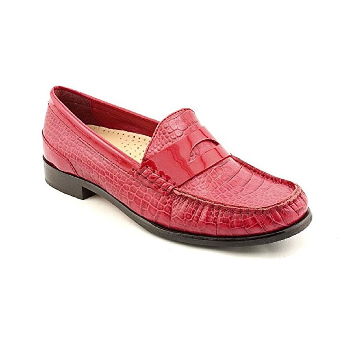 Cole Haan LAUREL Moc Red Croc Print Leather Loafers Shoes Womens 6 NEW IN BOX