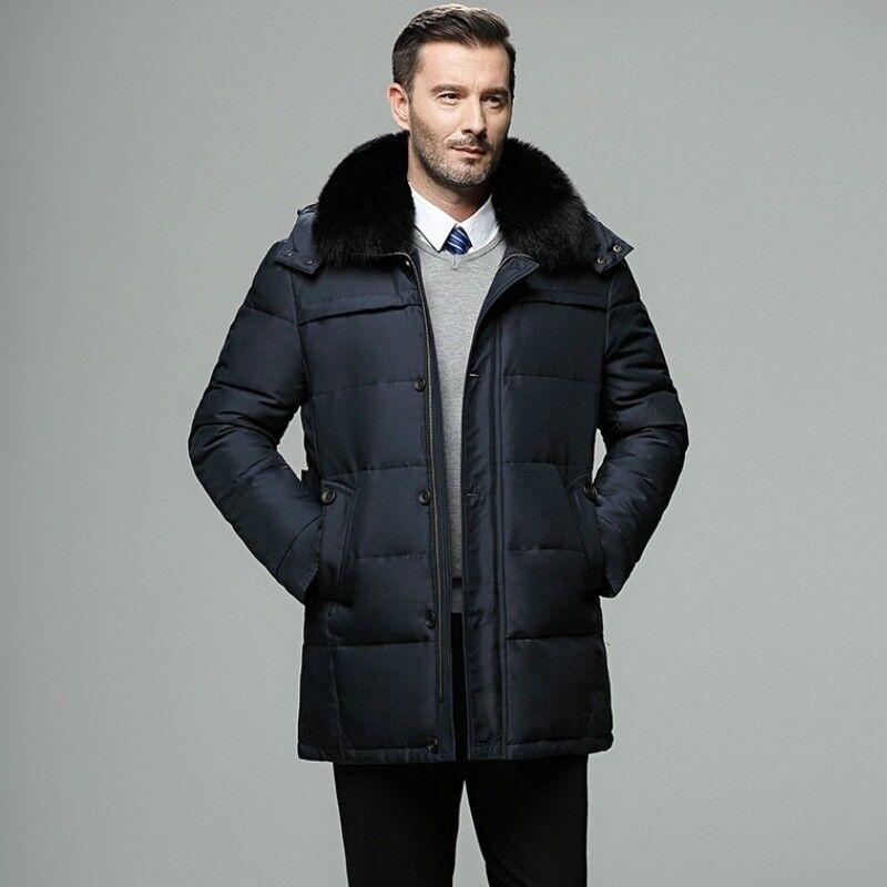 Men Duck Down Jacket Fur Hooded Coat Puffer Parka Thicken Winter Ski Warm Loose