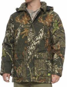 XL LG Mossy Oak Hunters Orange Reversible Mens Insulated Jacket Coat Parka Camo