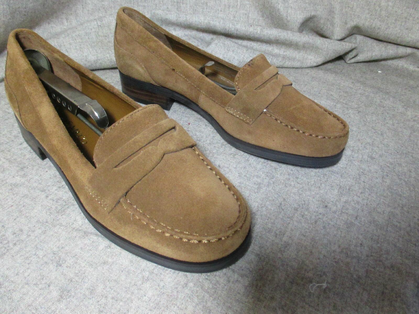 Como Nu    Franco Sarto marrón gamuza cuero cuero cuero Penny Loafers Flats Para Mujer 6.5 M  liquidación hasta el 70%