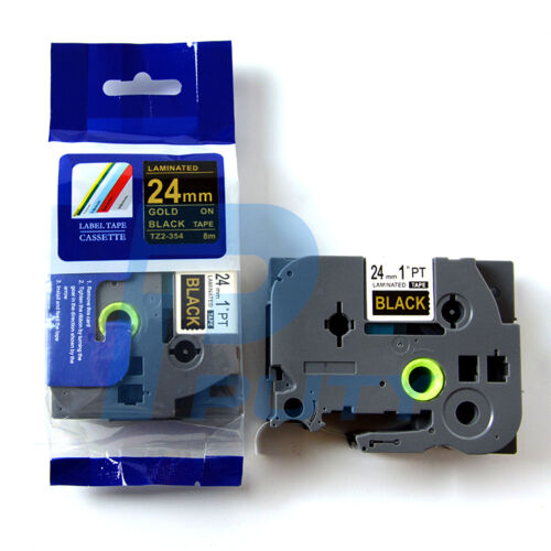 2PK Compatible Brother P-Touch Tze 354 TZ-354 Gold on Black Label Tapes 24mm*8m