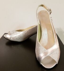99b6dfb2ee4 Image is loading Open-Toe-Sling-back-Silver-Metallic-Wedding-Shoe-