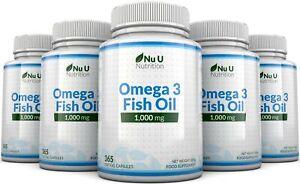 Omega 3 1000mg Fish Oil 5 Bottles x 365 soft gels DHA + EPA 100% MONEY BACK